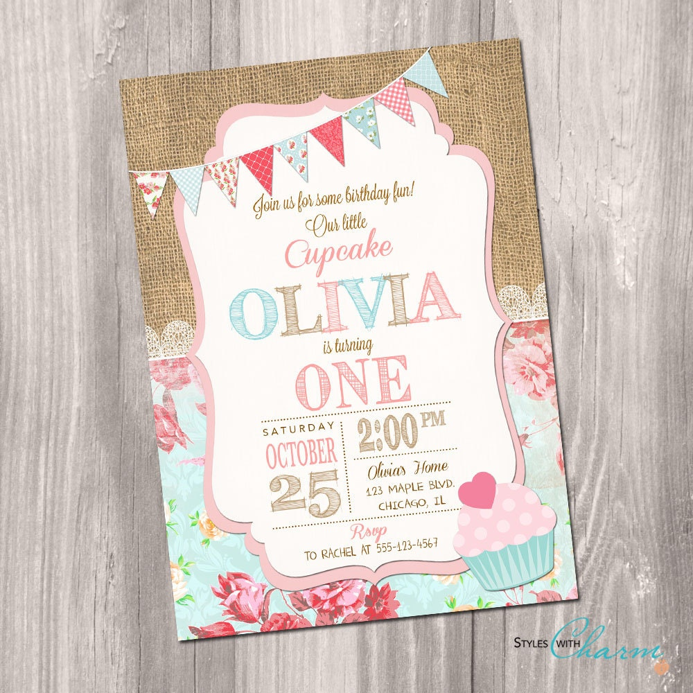 Cupcake invitation Cupcake birthday invitation first
