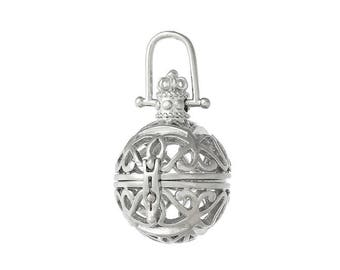 Pendant, jewelry pendant, cage, shouter, Ball, silver, vintage, medallion, 57740