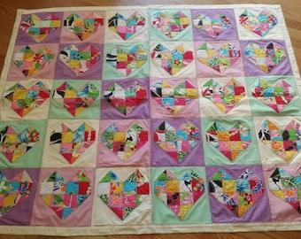 """Hawaiian Hearts Patchwork Lap Quilt 50"""" x 50"""""""