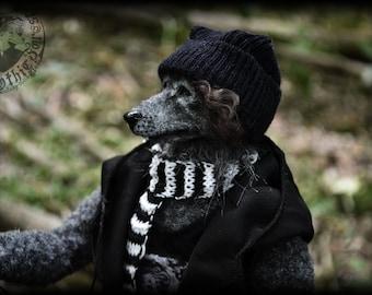 Ville Rockmusiker Wolf Anthropomorphic Furry Unique Art Handmade Doll  OOAK Artist Wolf