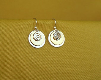 Swirly Girly silver and gold earrings (Style #270G)