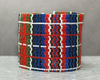 Plaid Cuff // Beaded // Red, blue, green, black, and white // Beadwork // Seed Beads // Vintage Button // Bracelet