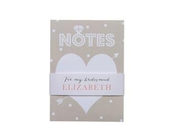 Bridesmaid Notepad ~ Bridal Party Notepad ~ Bridesmaid Gift ~ Maid of Honor Gift
