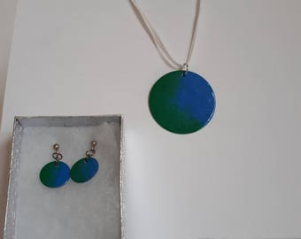 Enamelled Necklace and Earring Set