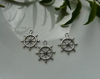 Charm, silver boat wheel pendant