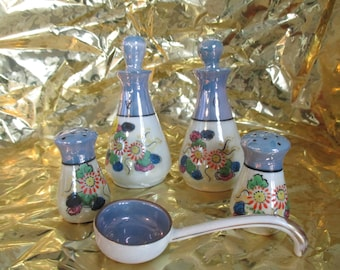 Vintage Oil & Vinegar  Cruets with Stoppers, Salt / Pepper Shakers, and a  Matching Ladle  Meito China Lusterware  Japan