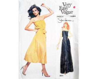 "UNCUT Vogue American Designer Original 2011 Stan Herman Vintage 70s Spaghetti Strap Maxi or Evening Dress Sewing Pattern Size Bust 34"" UK 12"