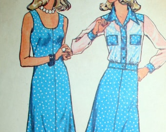 Vintage 70s Dress and Jacket Sewing Pattern Simplicity 6886 Size 12 Bust 34
