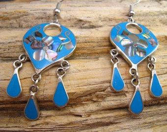 Vintage Silver Dangle Earrings Art Deco Frida Kahlo Style Mexican Earrings Blue Enamel Wires Pierced
