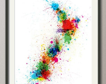 New Zealand Paint Splashes Map, Art Print (769)