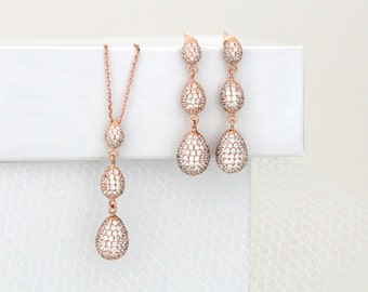 Rose gold earrings, Rose gold necklace set, Bridal jewelry set, Bridal earrings, Wedding jewelry, Sterling silver, Crystal earrings