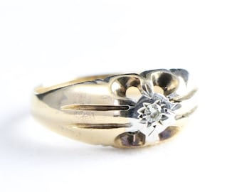 Mens vintage diamond solitaire signet ring in 9 carat gold for him