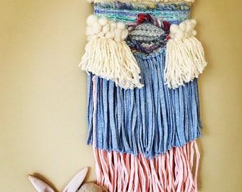 Medium woven wall weave, tapestry, fiber art, wall hanging