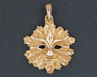 Antique Bronze Green Man Pendant With Open Eyes