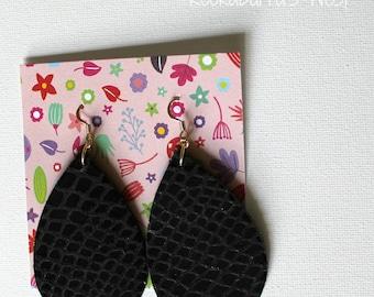 Black Croc Leather Teardrop Earrings