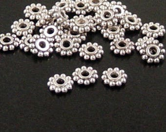 Bead Spacer 2000 Antique Silver Flower Daisy 6.5mm NF (1020spa06s1)