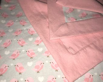 Double Sided Receiving Blanket - Pink and Grey Song Birds
