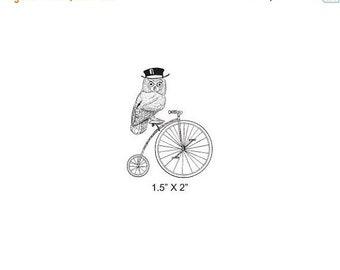 May Sale Owl on a Bicycle Penny Farthing Rubber Stamp 336