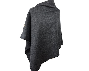 "Fine wool poncho ""Anthracite"" by marengu"
