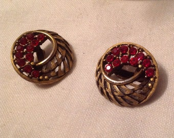 J.J. Vintage Cranberry Red Clip Earrings Open Weave Design