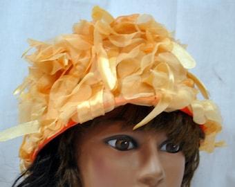 Clover Lane Flower Peach Hat - Bucket Style Floral Rose Petal Party Church