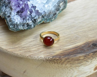 Small Carnelian Gold Size 7.5 Ring/ Dome Freeform Stone Ring/ Natural Orange Carnelian Ring Gold Setting Ring Natural  (RGD14-G)