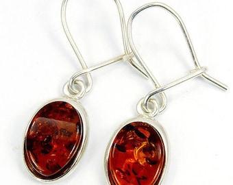 Cognac Amber Earrings & 925 Sterling Silver Dangle Earrings The Silver Plaza O16