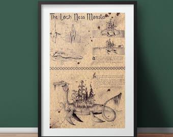 The Loch Ness Monster (Nessie) - Folklore Art Print
