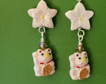 White Cat Flower Earrings