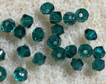 Emerald Green 5328 Bicone Swarovski Crystal Beads 3mm