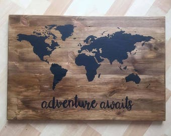 World Map / Wood Sign / Adventure Awaits / Adventure Map / Travel Map / Wood Map / World Map on Wood