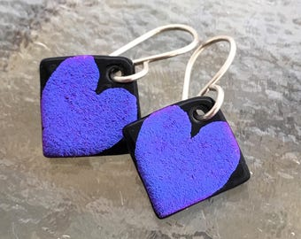 Small Love Hearts Dichroic Glass Earrings Handetched Purple