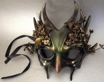 Dark Olive Green Forest Earth Masquerade Ball Mask with leaves