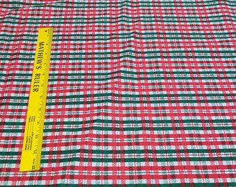 Red and Green Hatch Cotton Fabric