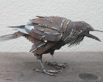 Scrap Metal Sculpture, Life-size Raven, Unique Art Work, Reclaimed Steel Art, Scrap Metal Bird