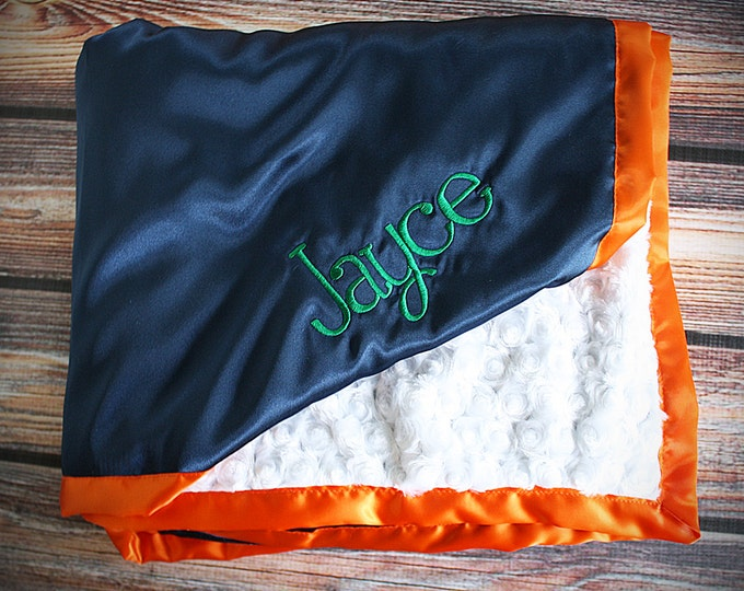 Baby Blanket, Minky blanket, broncos blanket, blue and orange minky, sports blanket, Embroidered Blanket, personalized blanket, boy minky
