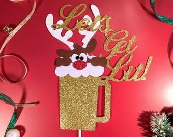 Christmas Cake Topper,Let's Get Lit Cake topper,Christmas Centerpiece,Santa Cake Topper,Merry Christmas  Cake Topper,