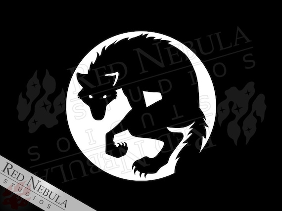 Werewolf vinyl decal wolf and moon vinyl sticker car window