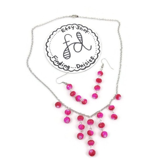 hot pink beaded necklace and earring set hot pink earrings