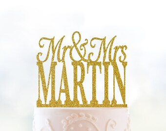 Mr And Mrs Last Name Cake Topper Gold Wedding Cake Topper Glitter Cake Topper Acrylic Cake Topper Anniversary Engagement Gift Bridal  (T016)