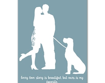 My Love Print  - Couples print with their pet Great Dane dog , Valentines Day , Wedding gift, anniversary, couple