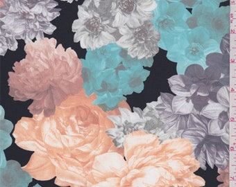 Black/Grey/Turquoise Vintage Floral Swimwear, Fabric By The Yard