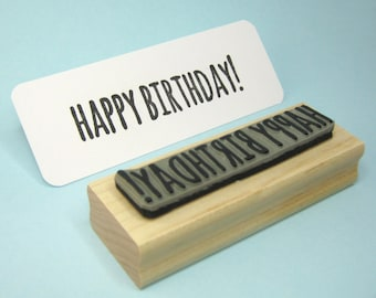 Happy Birthday Rubber Stamp - Large Sentiment Text Rubber Stamp - Birthday Card Stamper - Scrapbooking - Message Stamp - Skinny Font