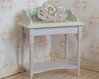 REDUCED, Dollhouse Miniature, Wooden Washstand, Dressing Table, Lilac and Ivory, Dolls House Furniture, Shabby Cottage Chic, 1:12th Scale