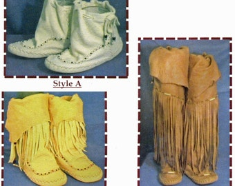 Native American Zuni Indian Moccasins in 3 Styles - SparrowHawk Sewing Pattern #Y003