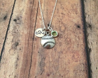 Softball initial necklace with birthstone - softball jewelry, softball charm necklace, sports necklace, baseball mom necklace