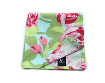 Light Floral Print Pocket Square, Pocket Square, Handmade Pocket Square, Mens Pocket Square, Men's Accessories, Cotton Pocket Square