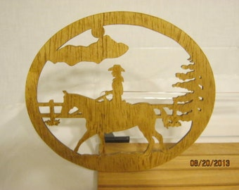 GIRL ON HORSE Scroll Saw Plaque
