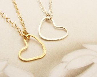 Gold Heart necklace, Heart Jewelry, Bridesmaid jewelry, hand hammered dainty heart jewelry, bridesmaid necklace