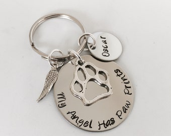 My angel has paw prints personalized pet keychain in memory of loss of pet gift a pet name personalized dog lover gift monogrammed pet name
